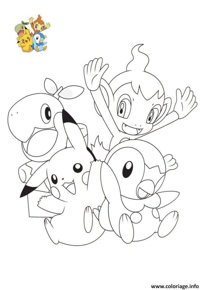Dessin pokemon pikachu ouisticram tiplouf tortipouss 4e generation Coloriage Gratuit à Imprimer