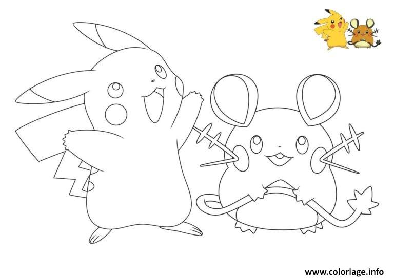 Coloriage Pokemon Pikachu Raichu Dessin