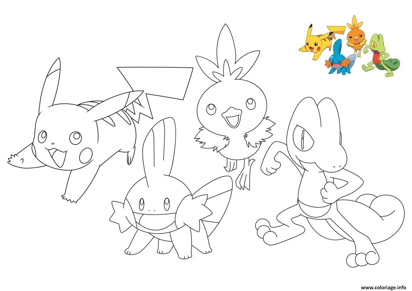 Dessin pokemon pikachu treecko torchic mudkip Coloriage Gratuit à Imprimer