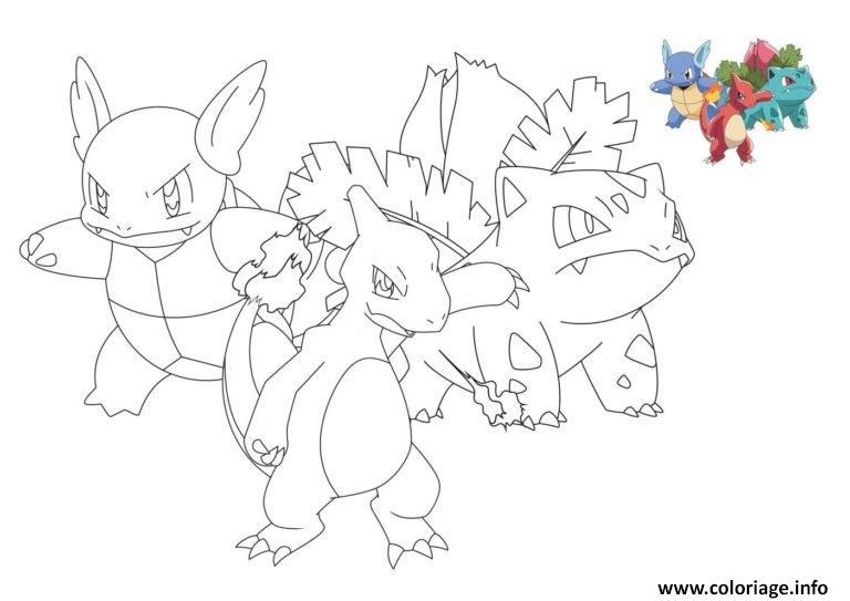 Dessin pokemon reptincel carabaffe herbizarre Coloriage Gratuit à Imprimer