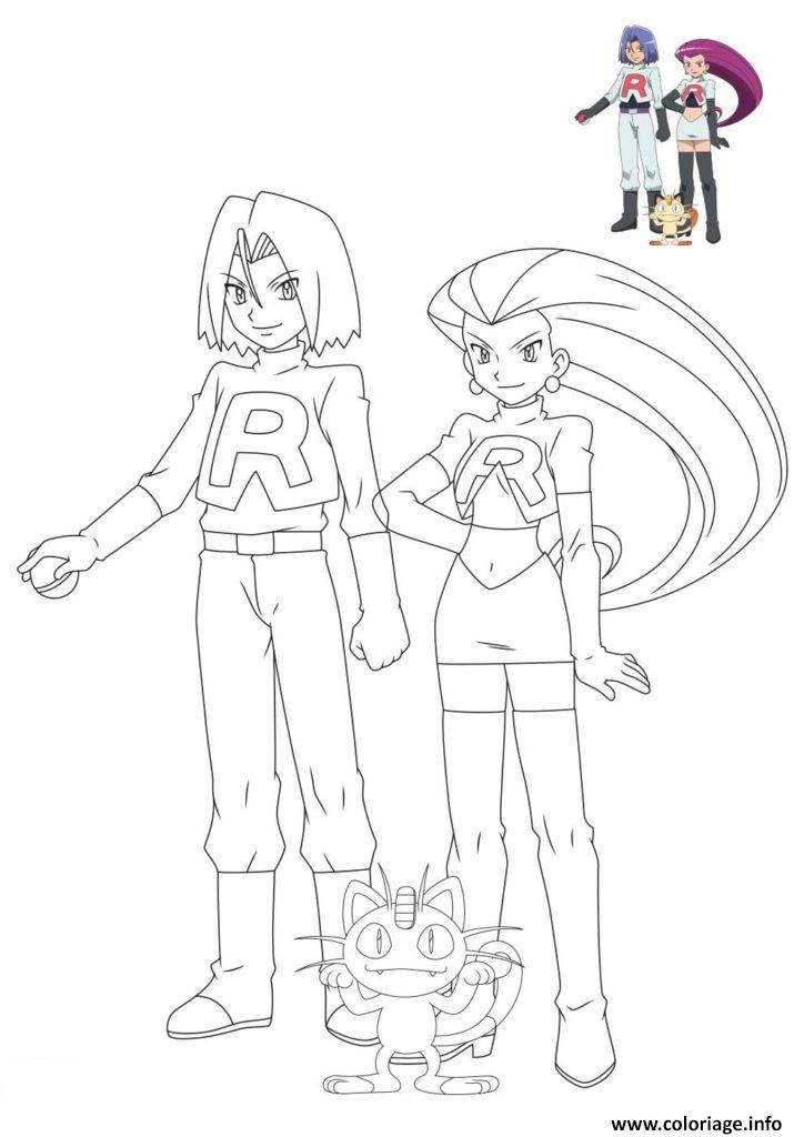 Dessin pokemon team rocket et meowth Coloriage Gratuit à Imprimer