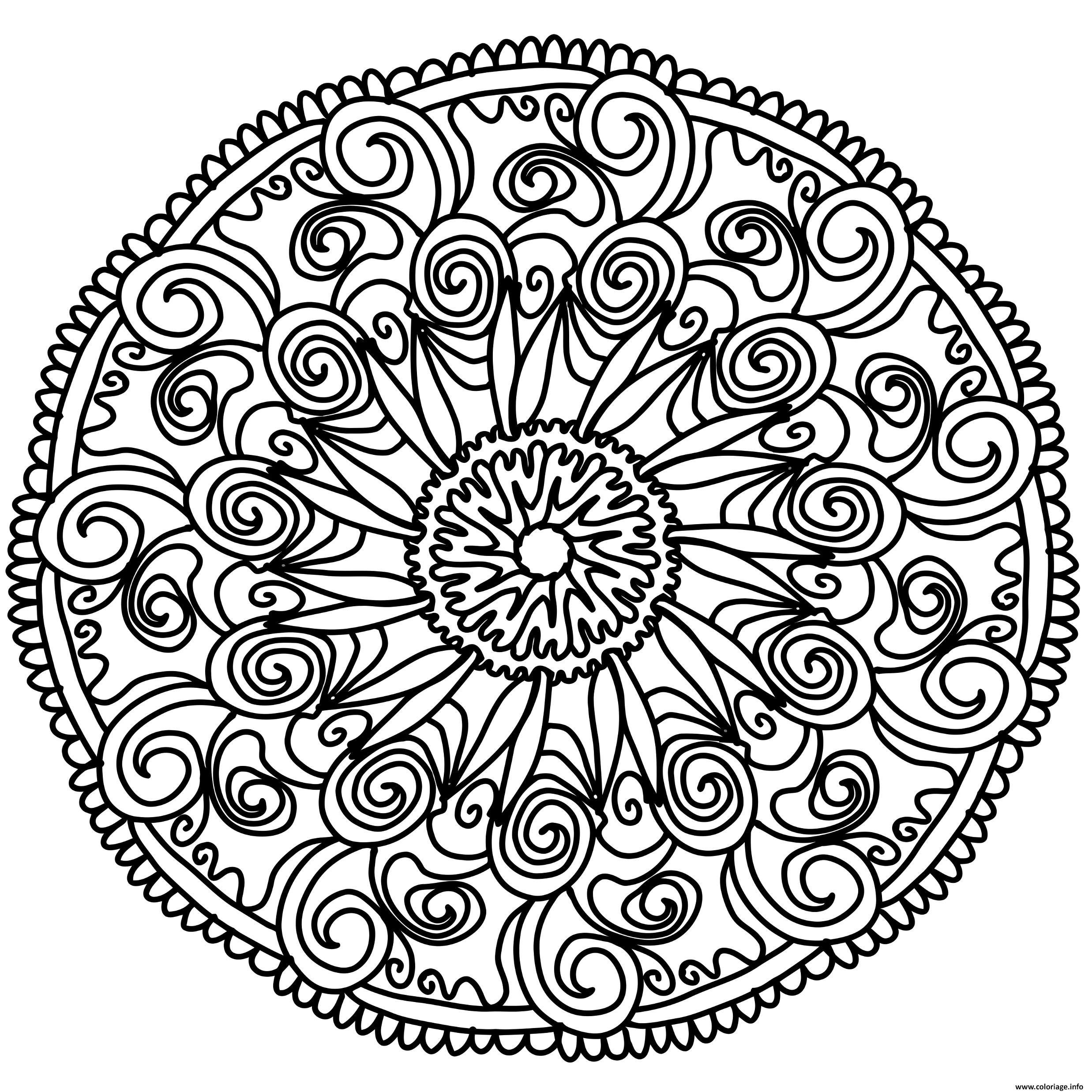 Dessin flowers mandala Coloriage Gratuit à Imprimer