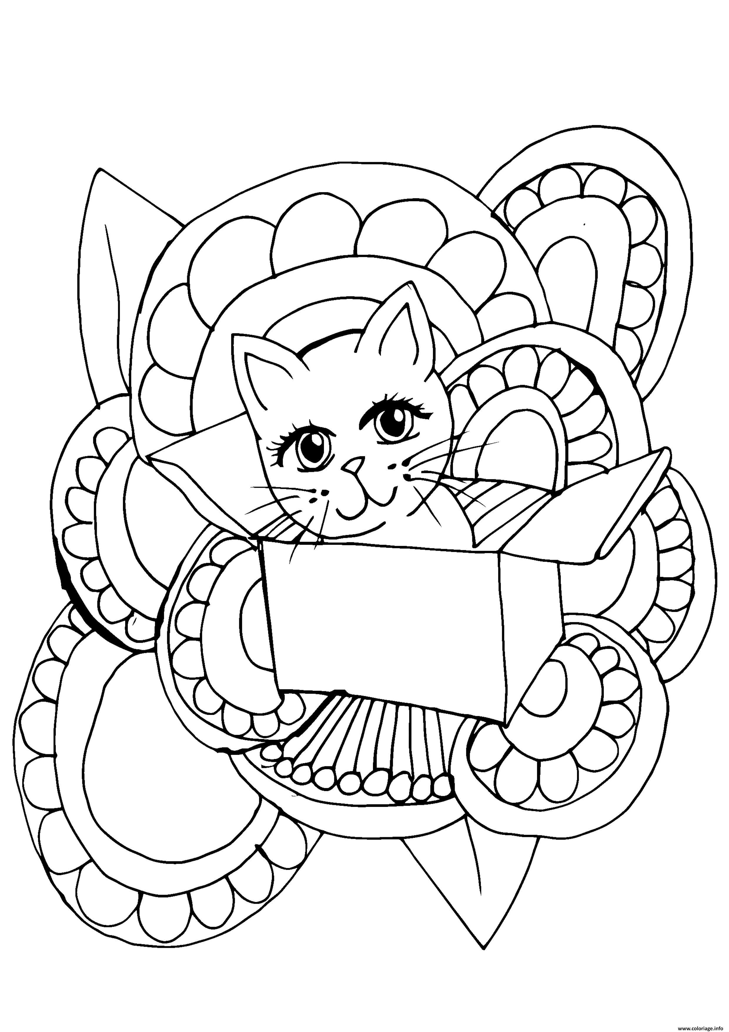 Dessin cute chat adulte boite Coloriage Gratuit à Imprimer