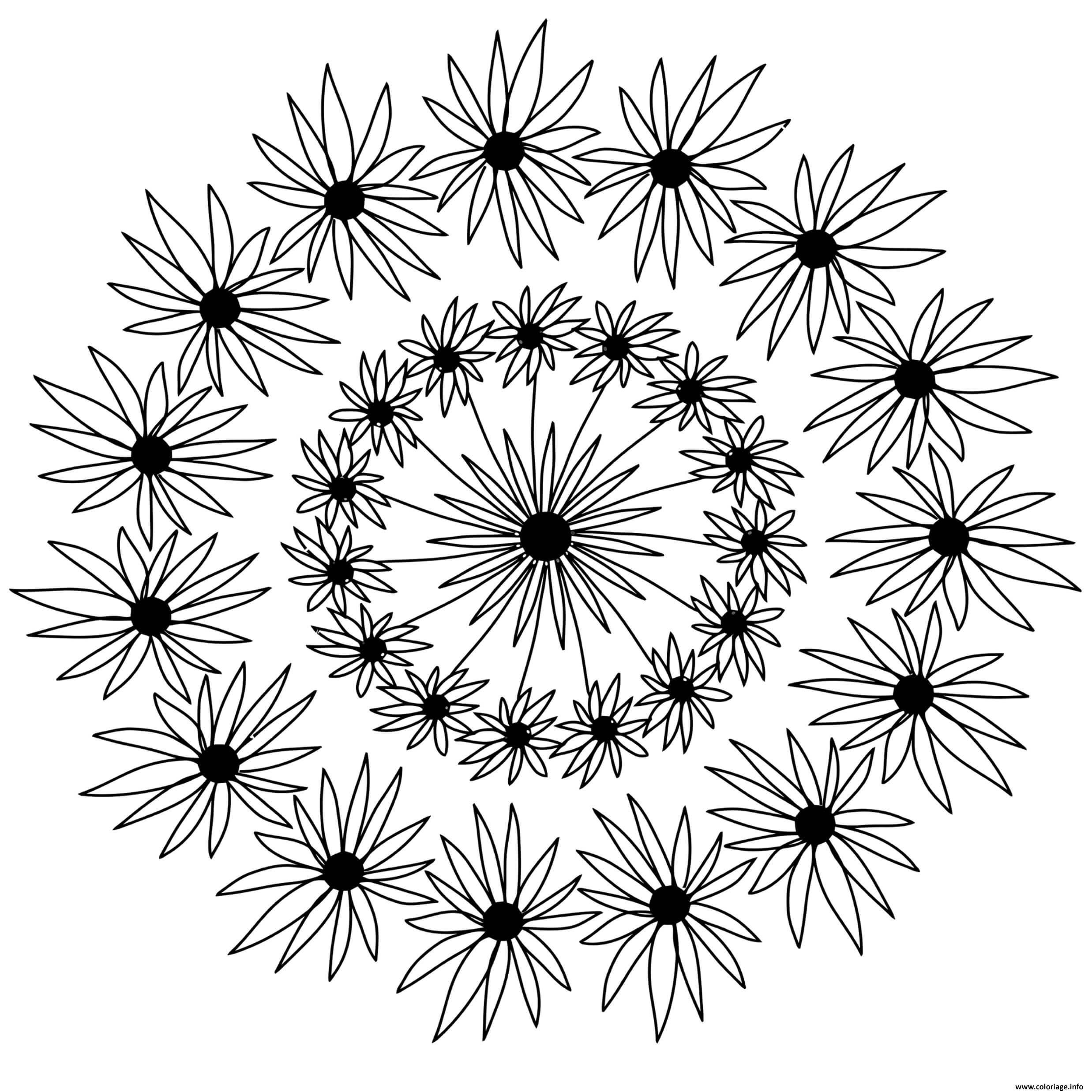 Dessin flowers mandala adulte fleurs Coloriage Gratuit à Imprimer