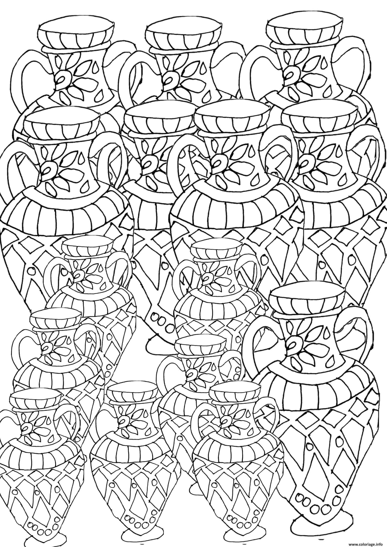 Dessin adult pots artisanals Coloriage Gratuit à Imprimer