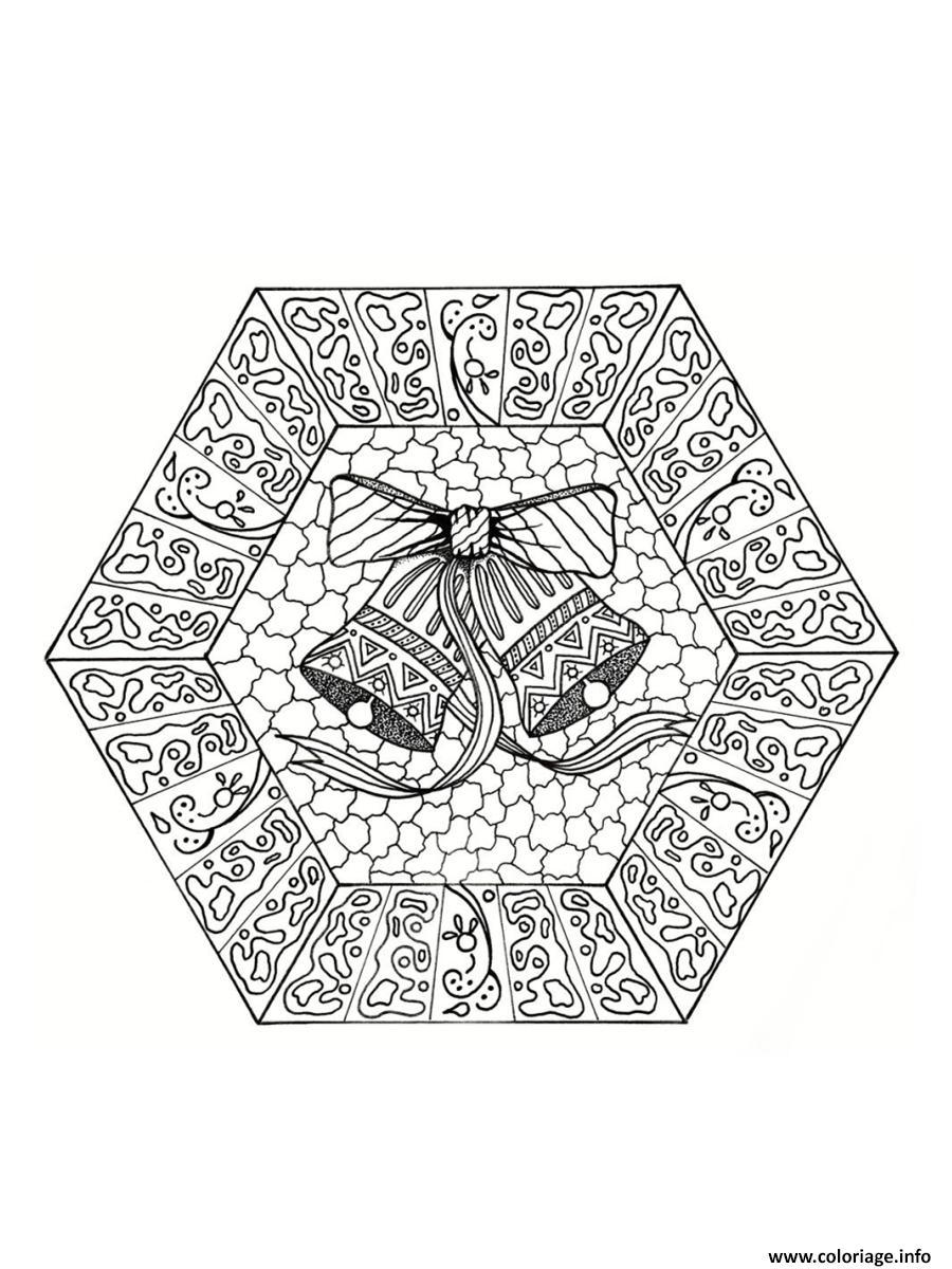 Coloriage Mandala Noel En Ligne.Coloriage Mandala Noel Cloches De Noel Dessin