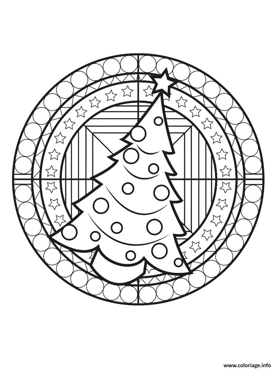Coloriage Mandala Noel.Coloriage Mandala Noel Sapin Dessin