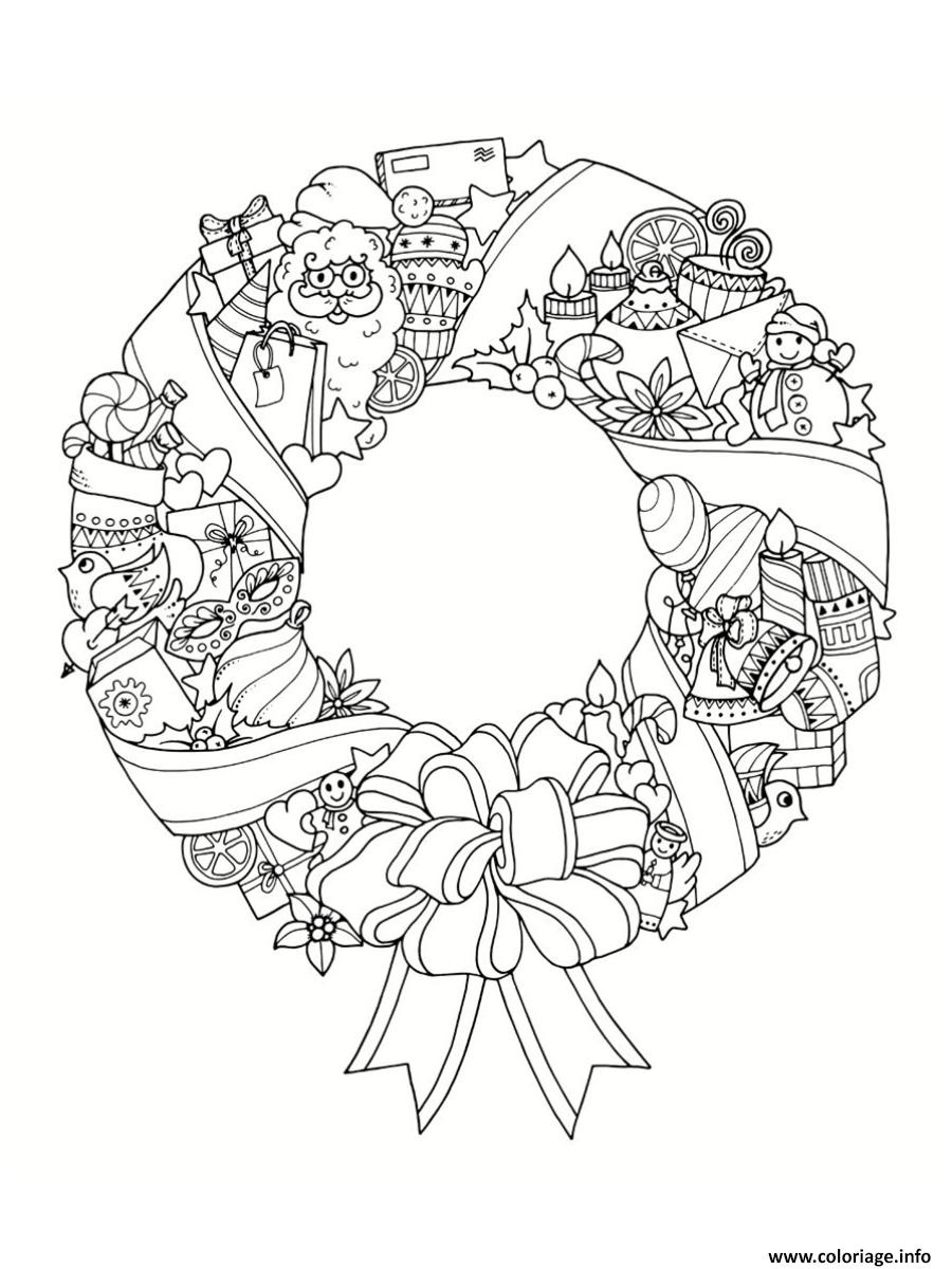 Dessin mandala noel couronne de noel Coloriage Gratuit à Imprimer