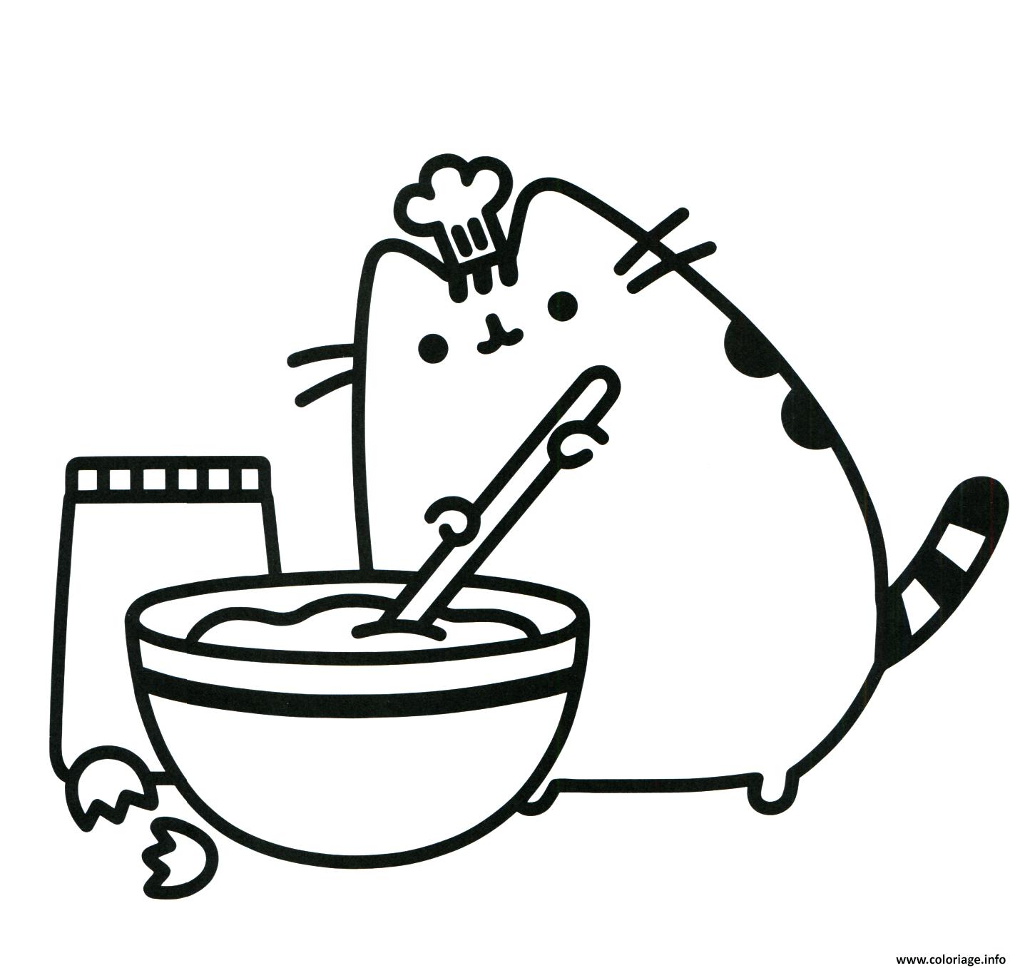 Coloriage Pusheen Cuisine Parfaitement Un Vrai Chef Dessin