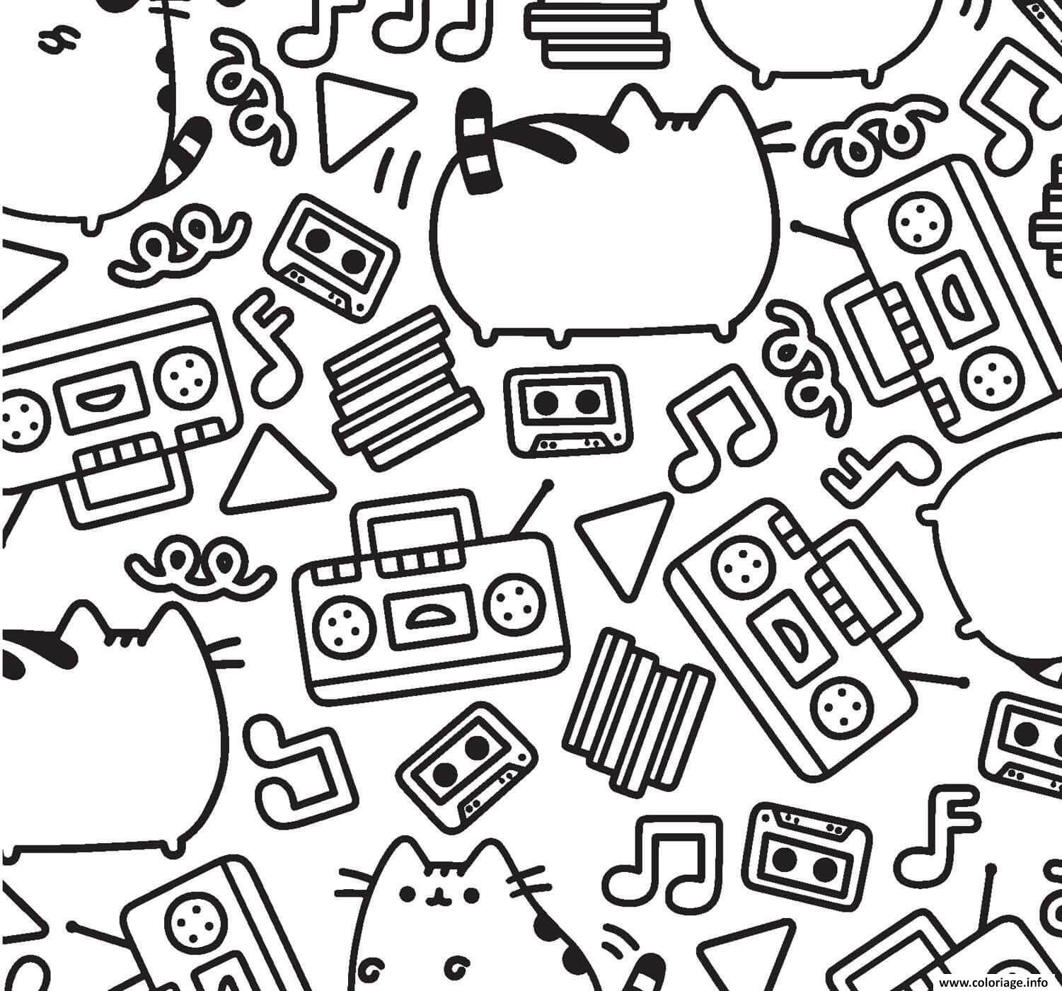 Coloriage Pusheen Music Pattern Adult Dessin à Imprimer
