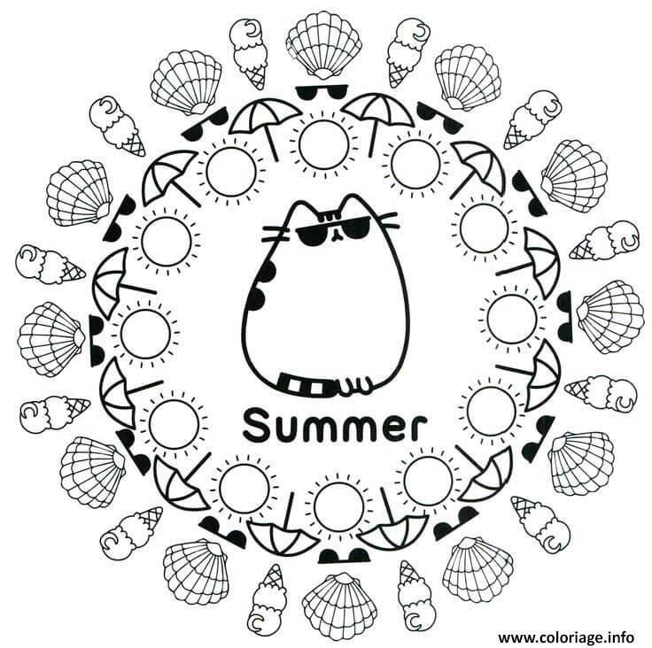 Dessin Pusheen Summer Ete Plage Coloriage Gratuit à Imprimer