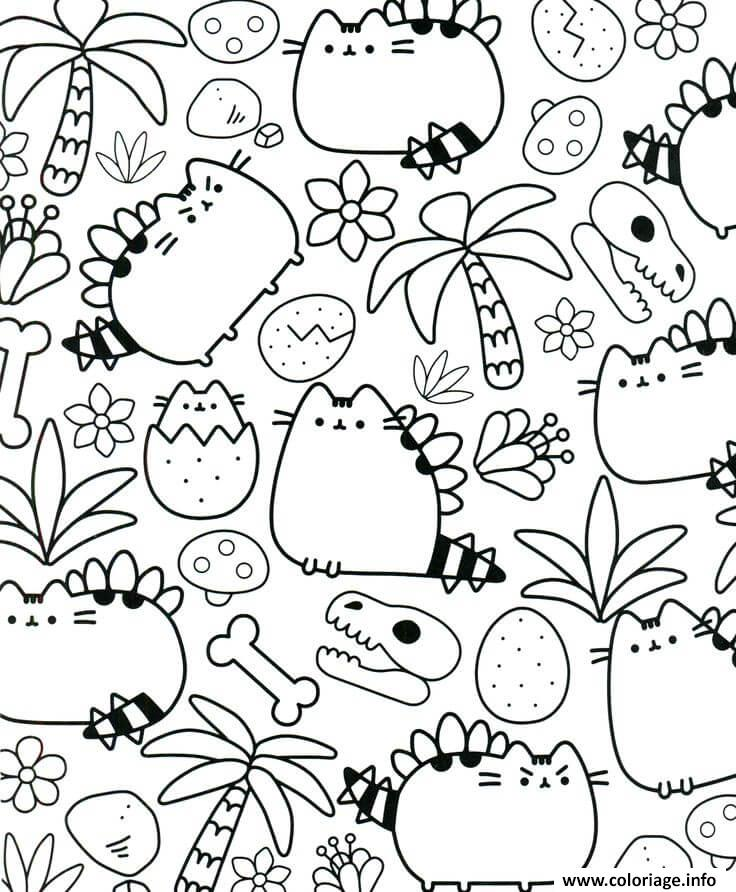 Coloriage Pusheen Therapy For Adults Dessin à Imprimer