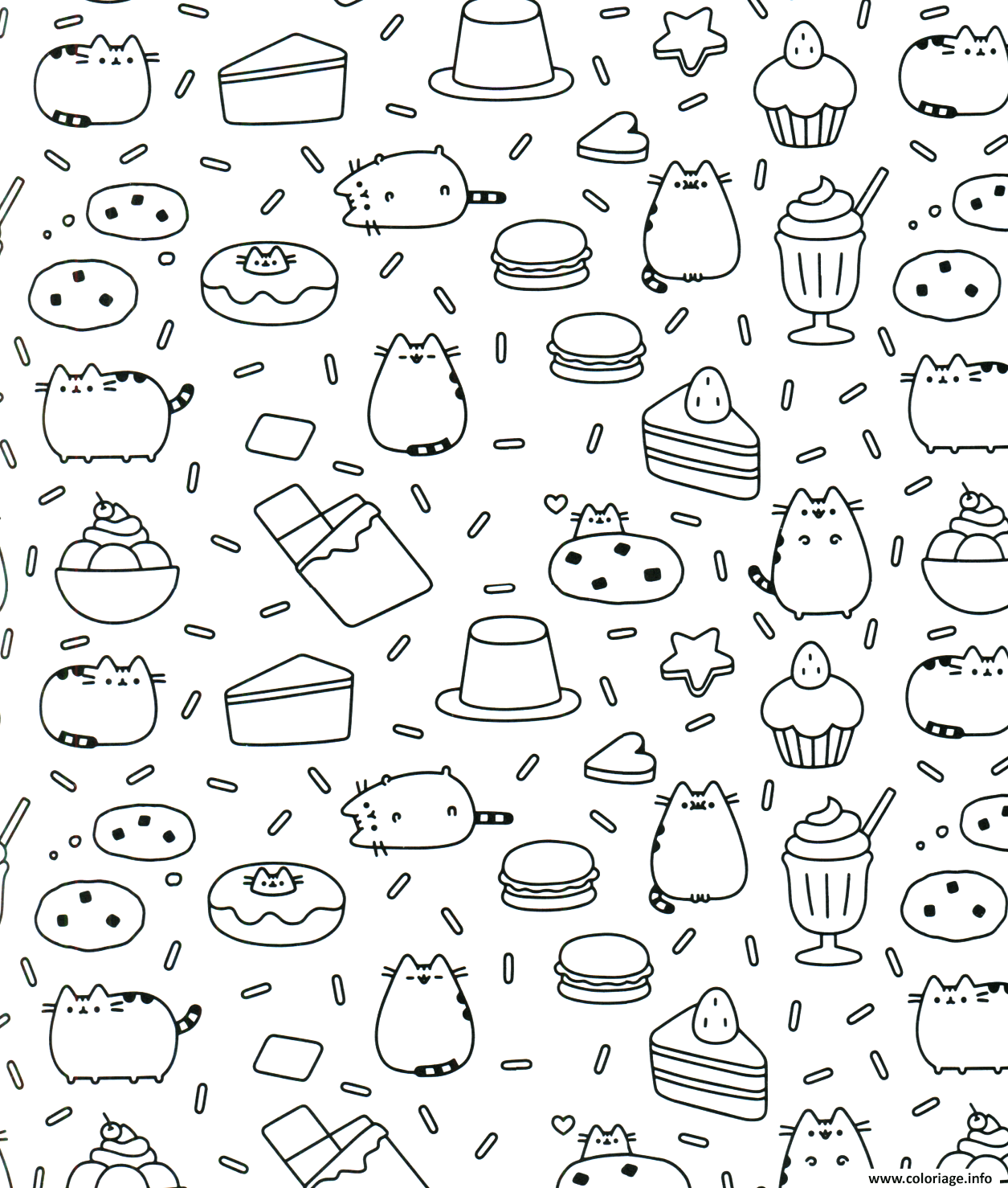 Dessin Pusheen the Cat Therapy for Adults Coloriage Gratuit à Imprimer