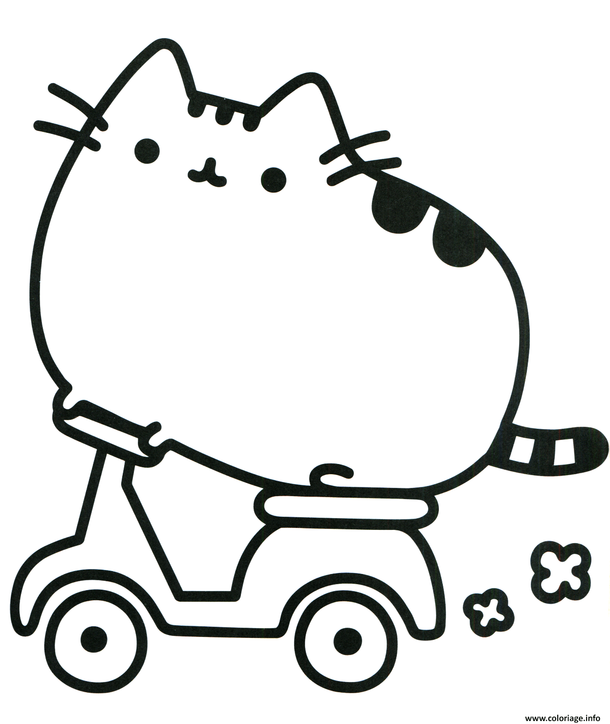 Dessin Pusheen Cat on Scooter Coloriage Gratuit à Imprimer