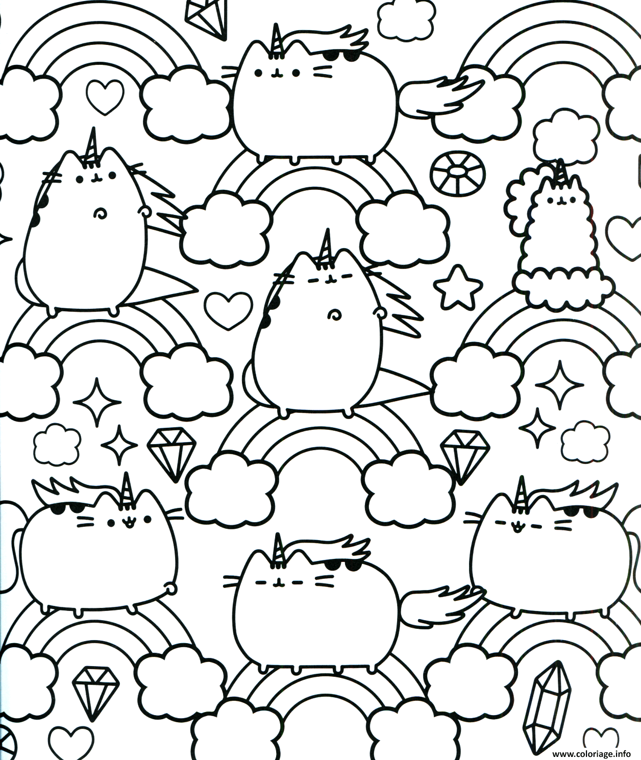 Coloriage Unicorn.Coloriage Pusheen Unicorn Arc En Ciel Pattern Dessin