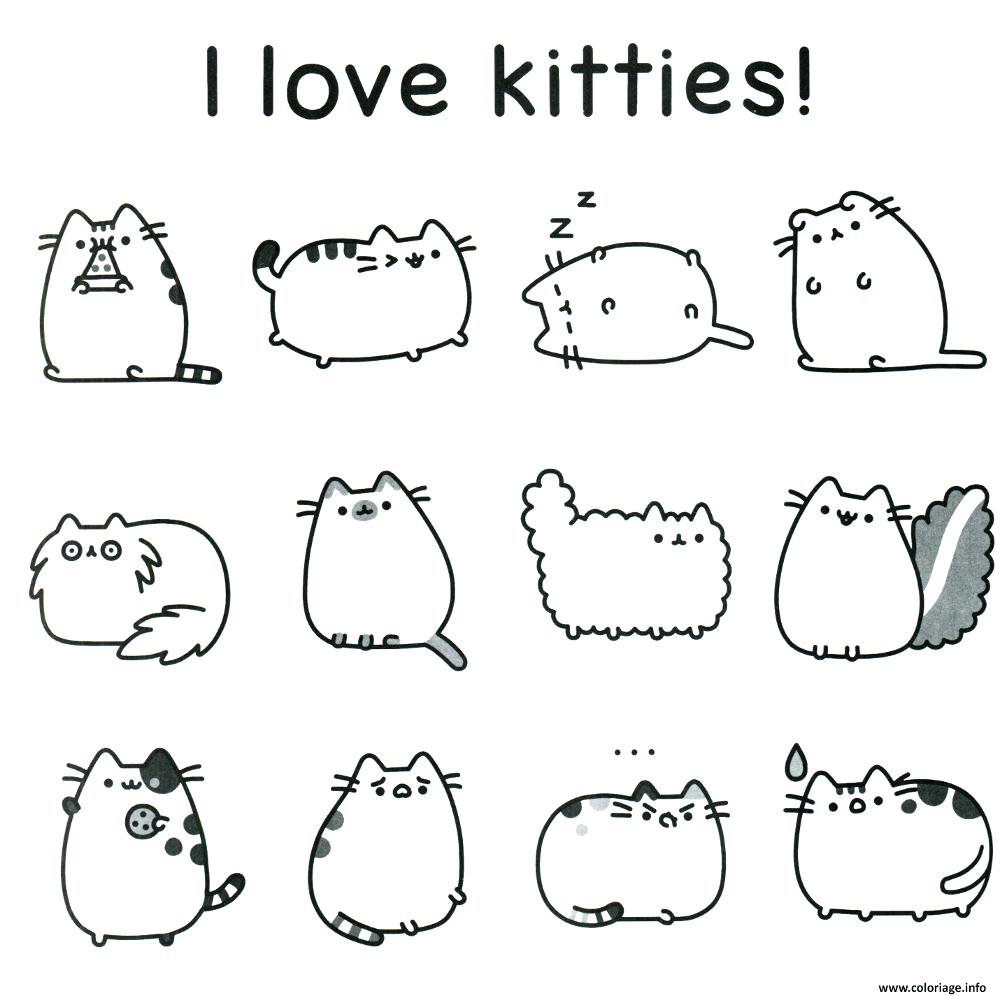 Coloriage Pusheen I Love Kitties Dessin à Imprimer