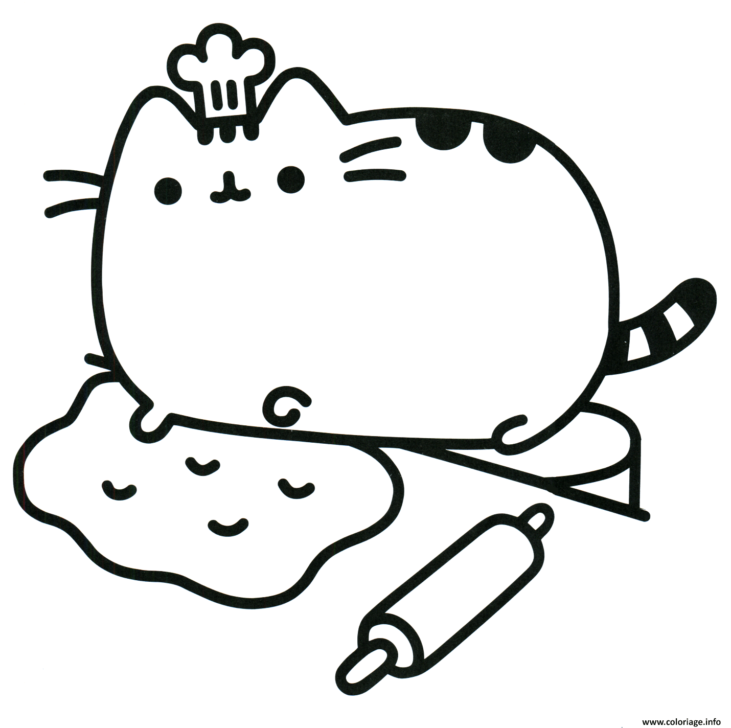 Coloriage Pusheen The Cat Chef Cook Dessin à Imprimer