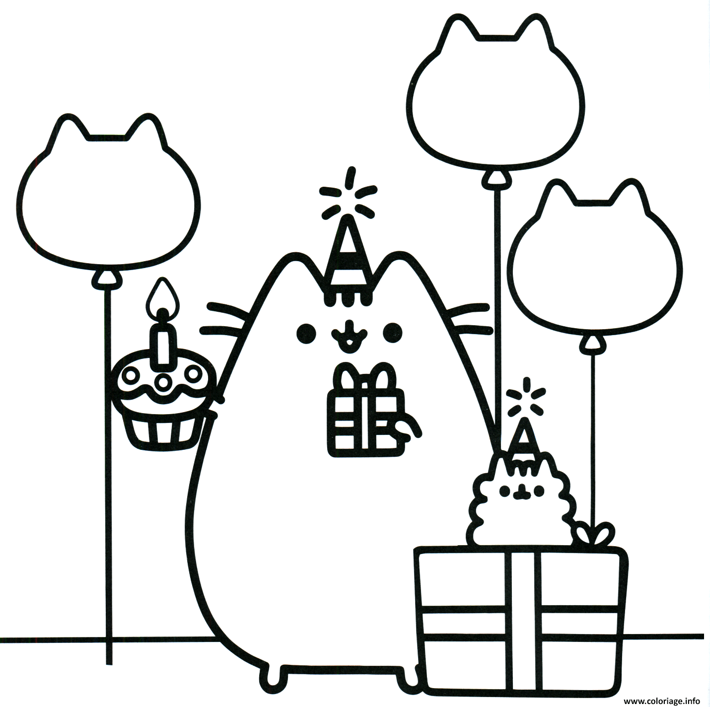 Dessin pusheen the cat party Coloriage Gratuit à Imprimer