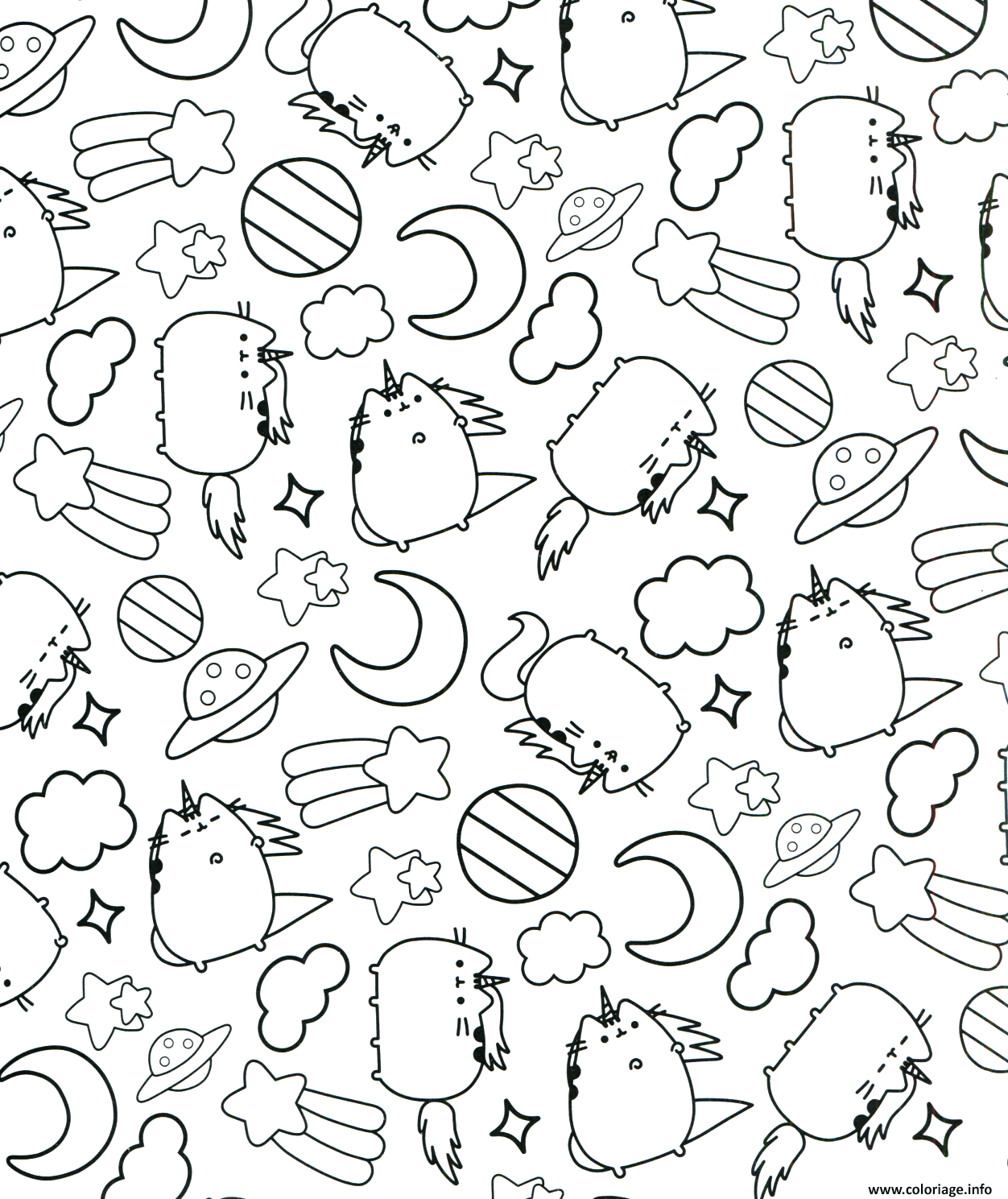 Coloriage Pusheen The Cat Sleep Pattern Dessin à Imprimer
