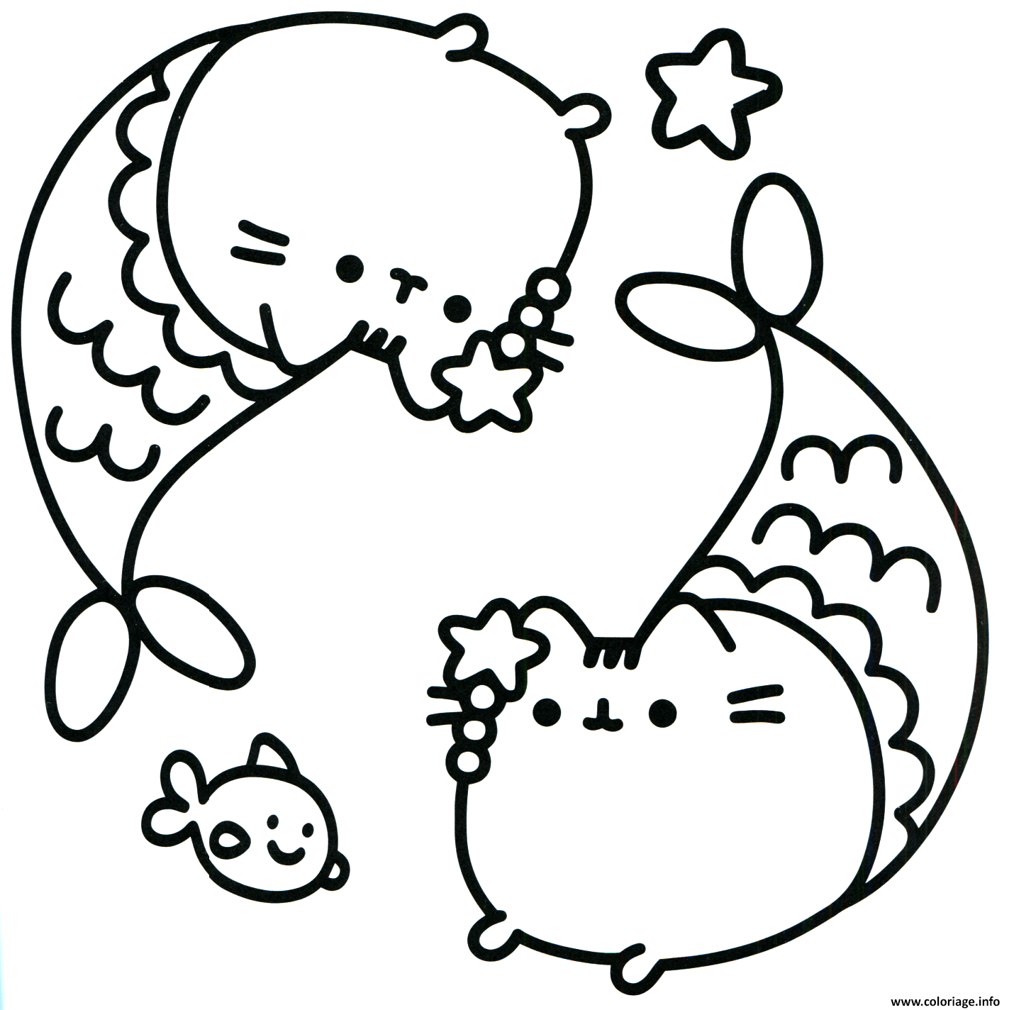 Coloriage Pusheen Mermaid Dessin à Imprimer