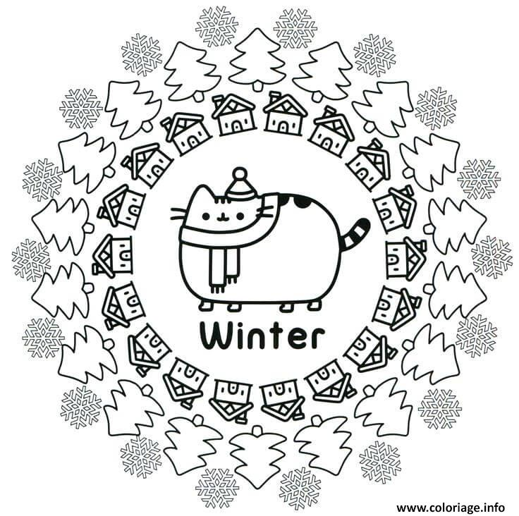 Coloriage Pusheen Winter dessin