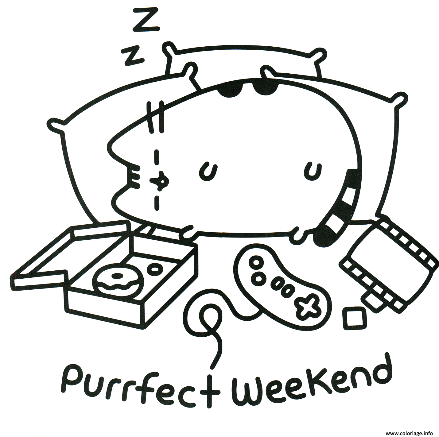 Coloriage Pusheen Perfect Weekend Dessin