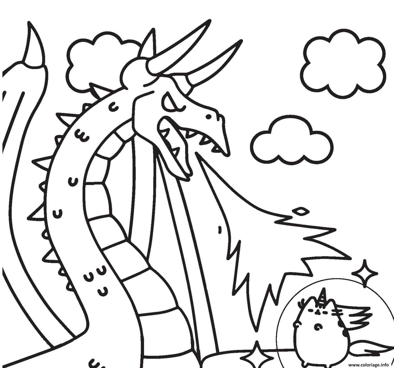 Dessin pusheen vs dragon Coloriage Gratuit à Imprimer