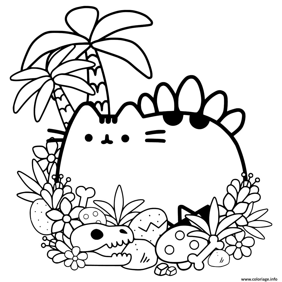 Dessin Pusheen Cave Cat Coloriage Gratuit à Imprimer