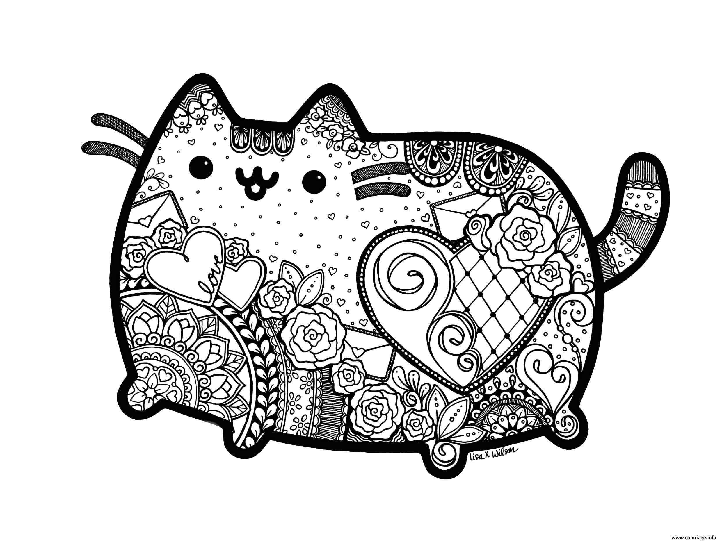 Dessin pusheen the cat adult inspired zentangle with mandala Coloriage Gratuit à Imprimer