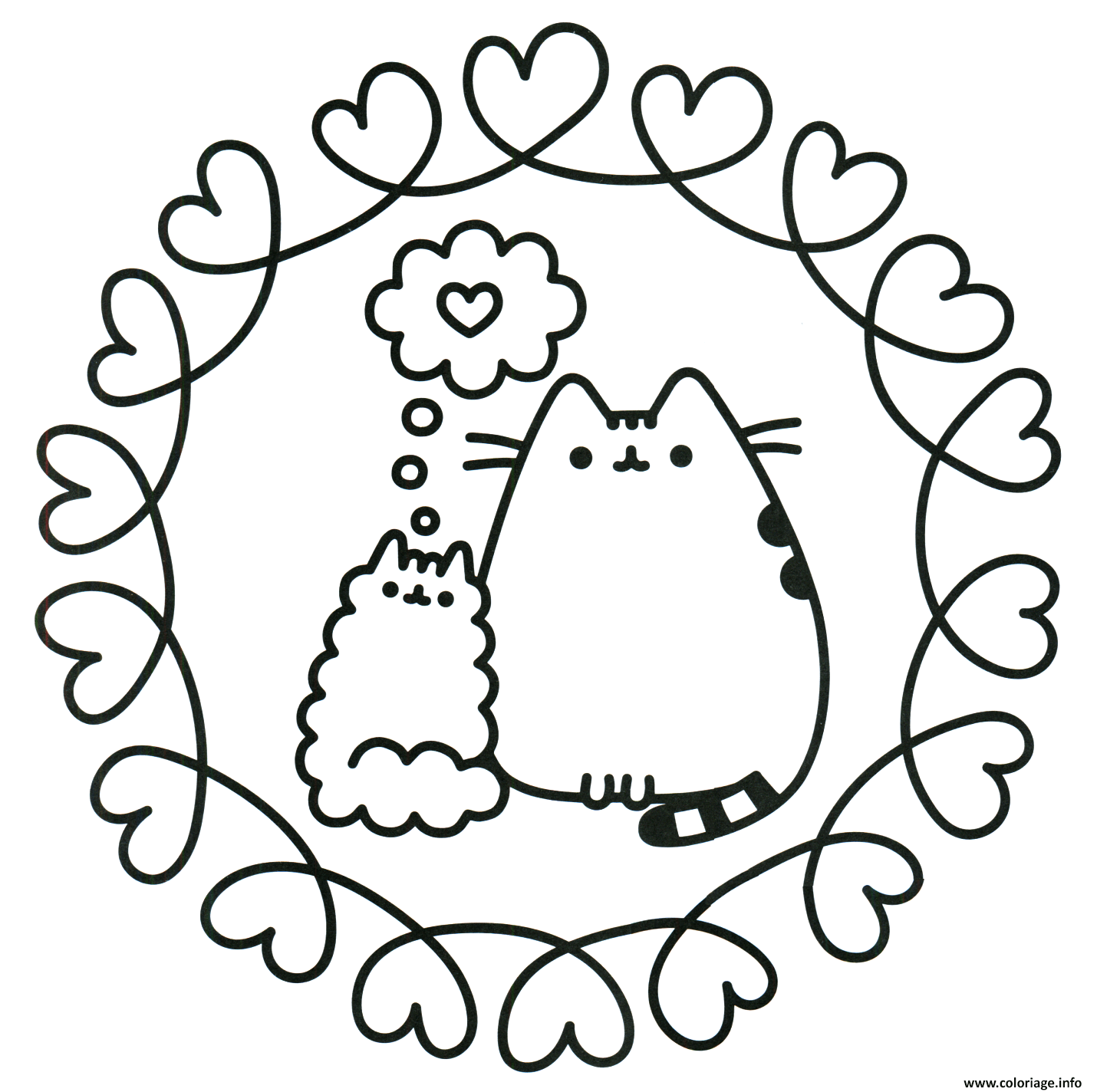 Dessin pusheen the cat en amour Coloriage Gratuit à Imprimer