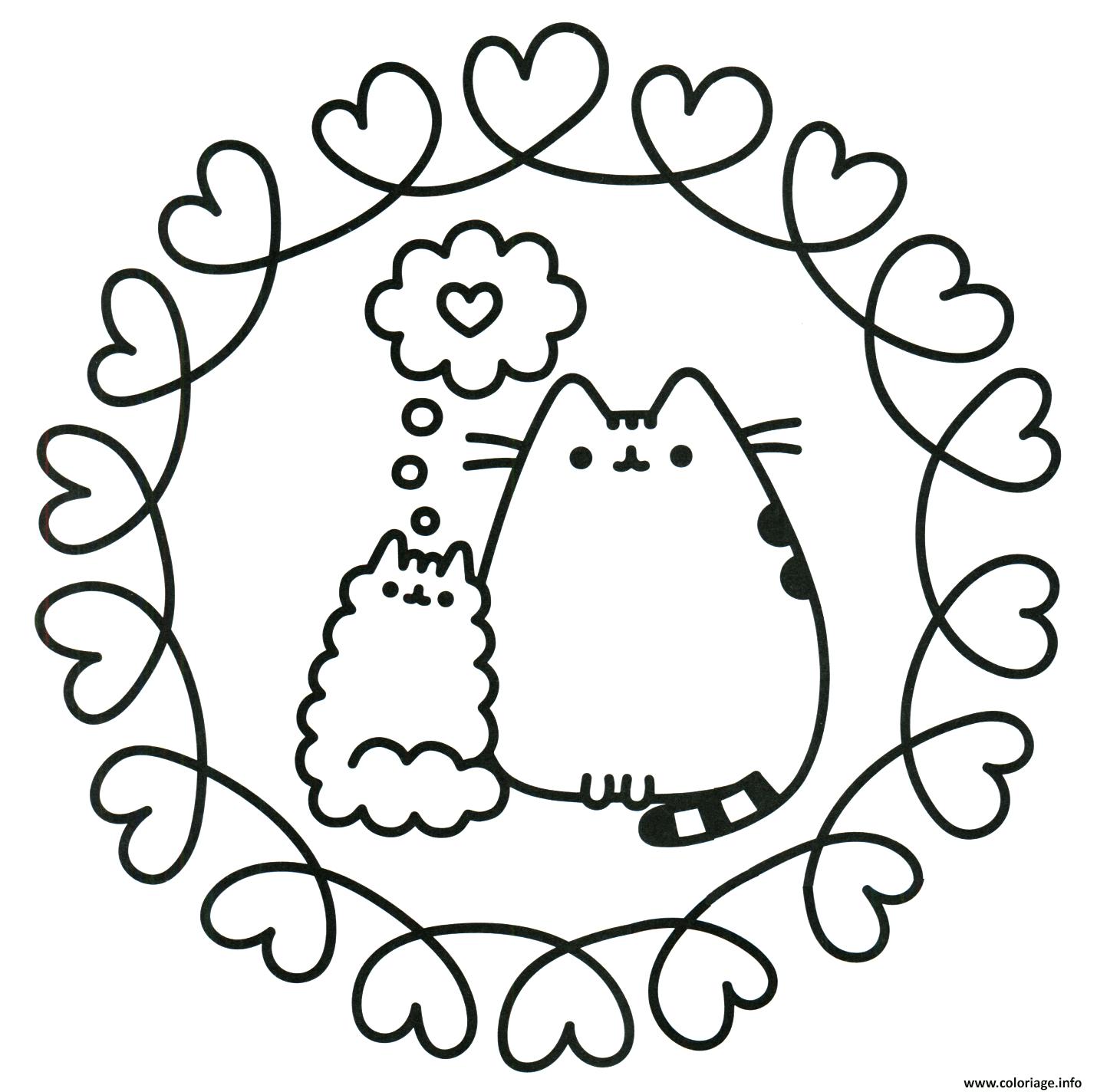 Coloriage Pusheen The Cat En Amour dessin