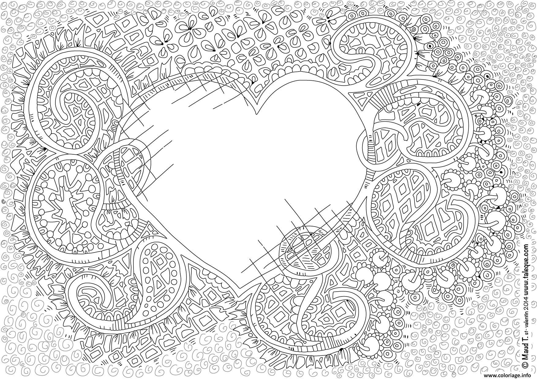 Coloriage amour adulte inspiration zen - JeColorie.com