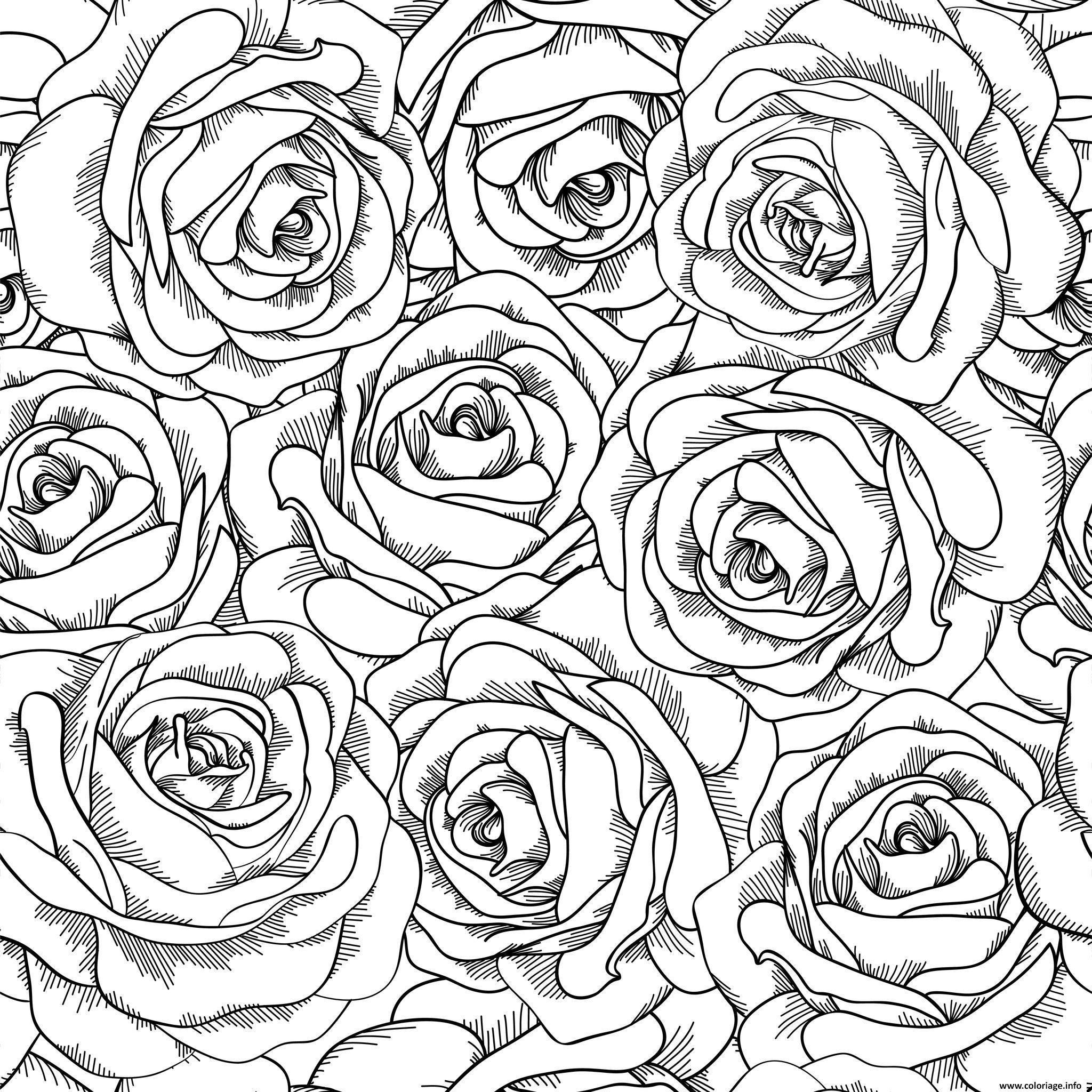 Dessin roses doodle adulte amour Coloriage Gratuit à Imprimer