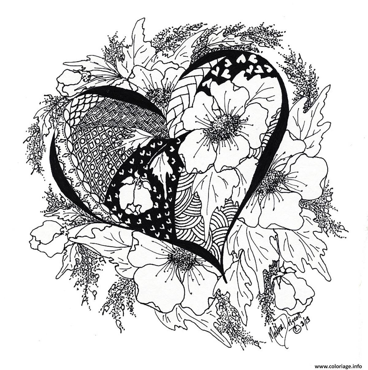 Coloriage Adulte Coeur.Coloriage Adulte Coeur Amour 5 Jecolorie Com