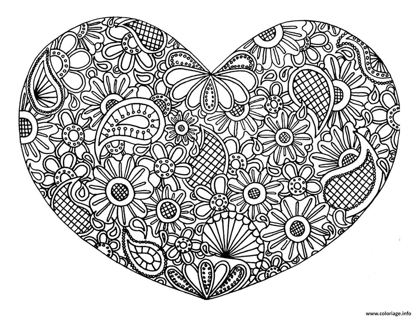 Coloriage Adulte Coeur Mandala Fleurs Zen Stvalentin Jecolorie Com