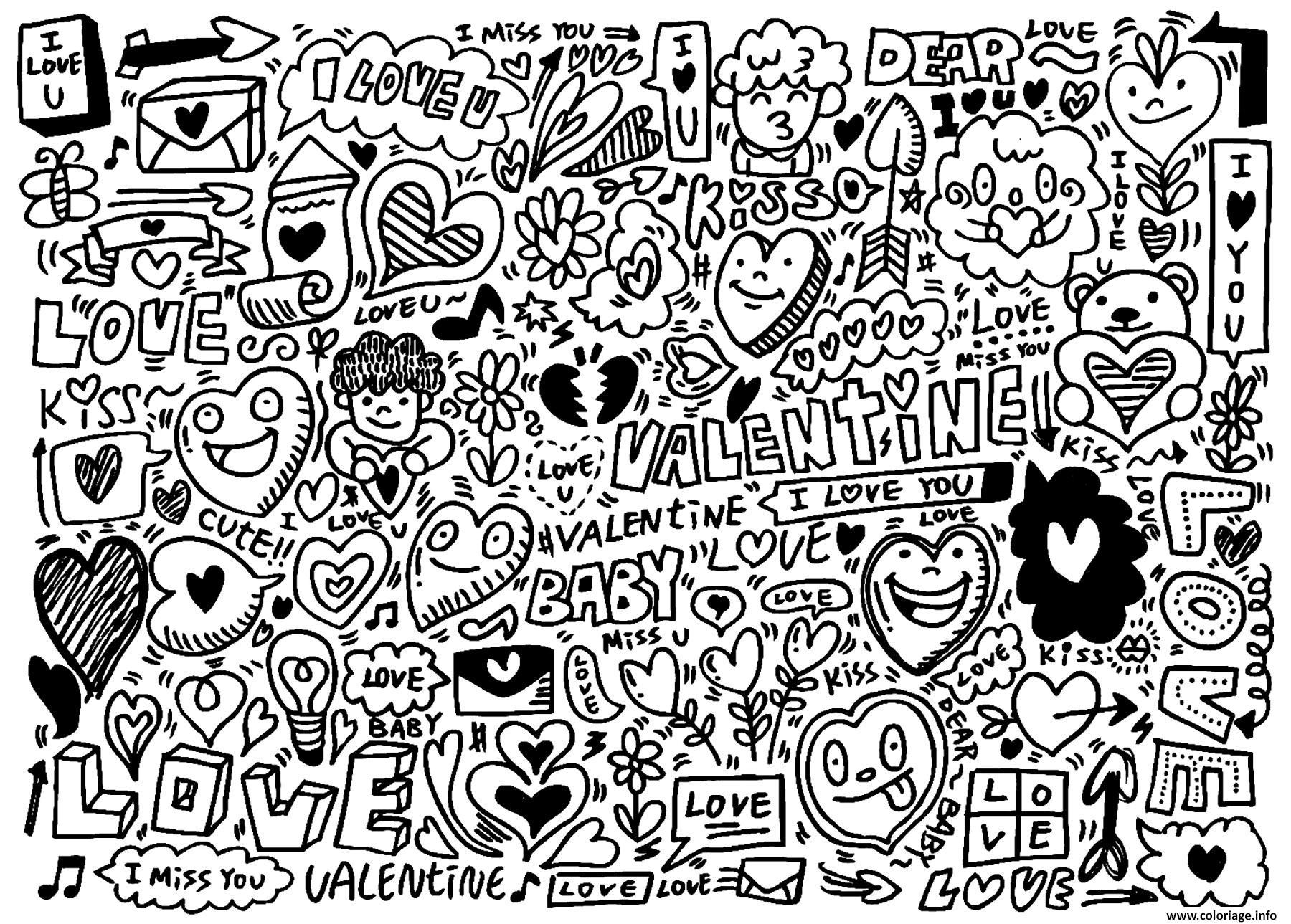 Coloriage Doodle Amour Saint Valentin Dessin