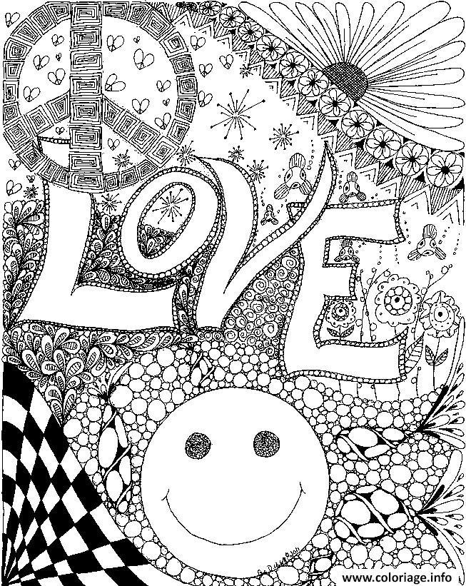 Dessin love peace smile amour adulte Coloriage Gratuit à Imprimer