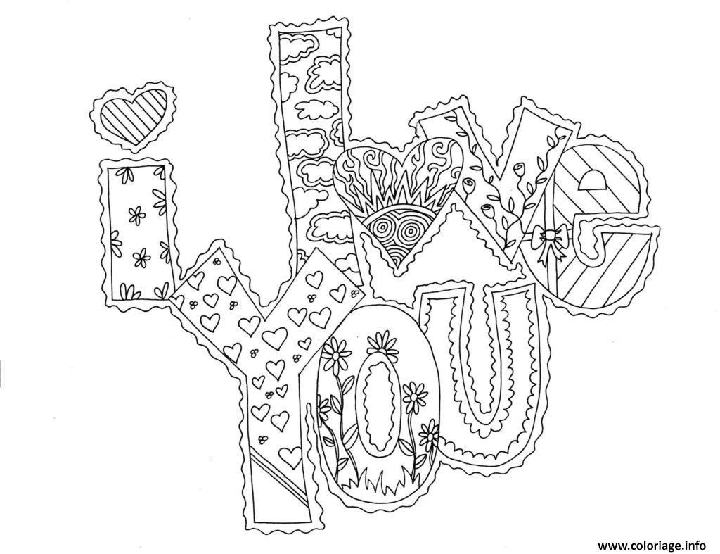 Coloriage Adulte A Imprimer Amour.Coloriage I Love You Adulte Amour Dessin