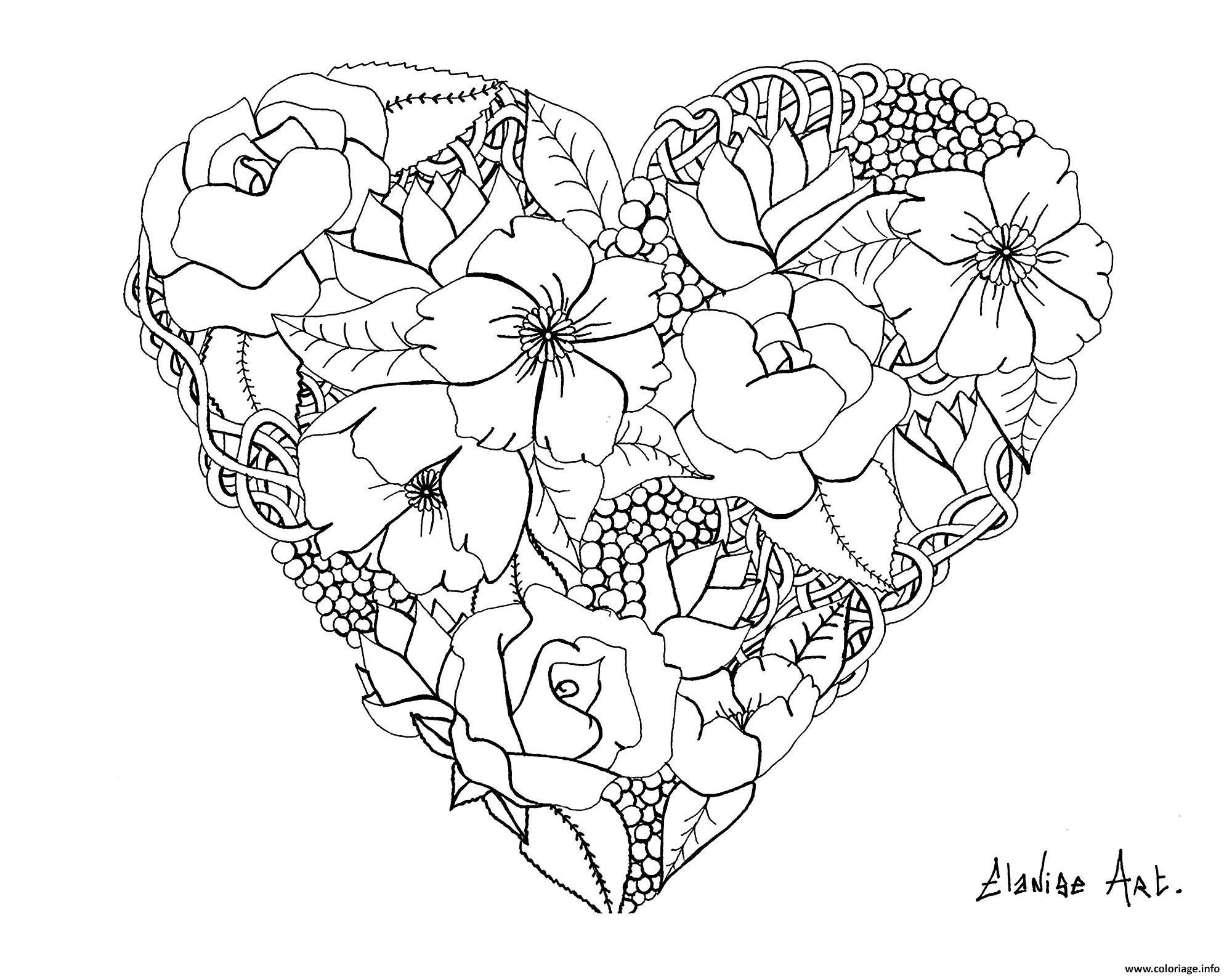 Dessin mandala elanise art flowers in a heart Coloriage Gratuit à Imprimer