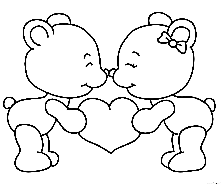 Coloriage A Imprimer Amour.Coloriage Teddy Nounours St Valentin Amoureux Dessin
