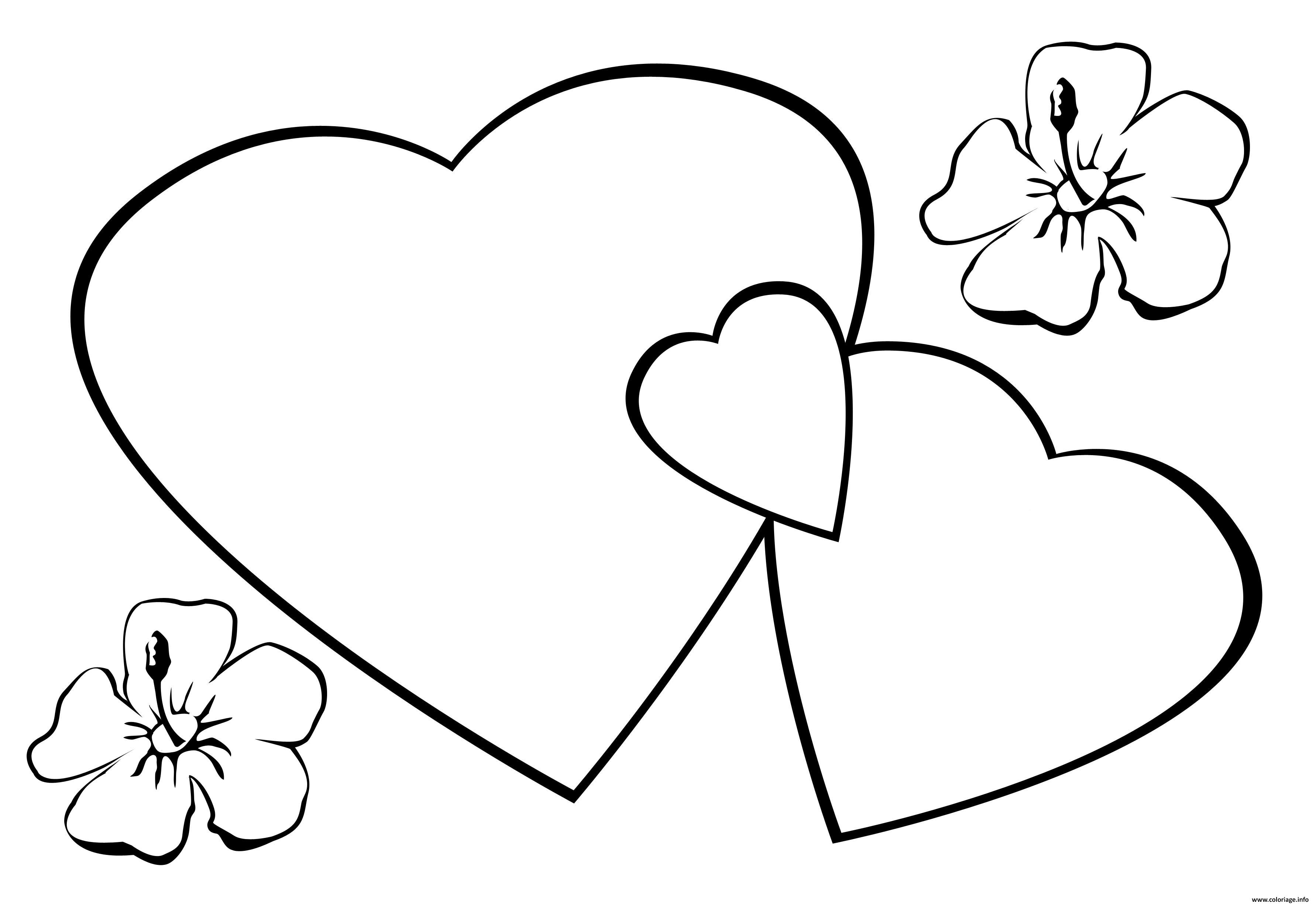 Coloriage coeurs st valentin fleurs dessin - Coeur en dessin ...