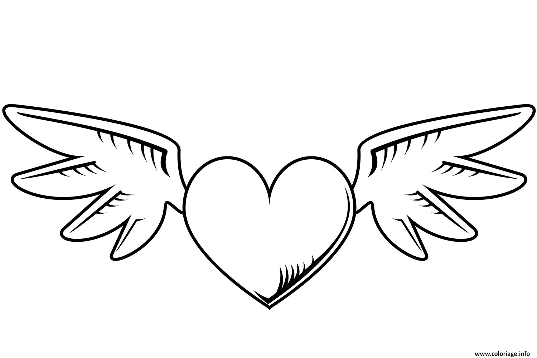 Coloriage coeur avec des ailes st valentin - Coeur avec des photos ...