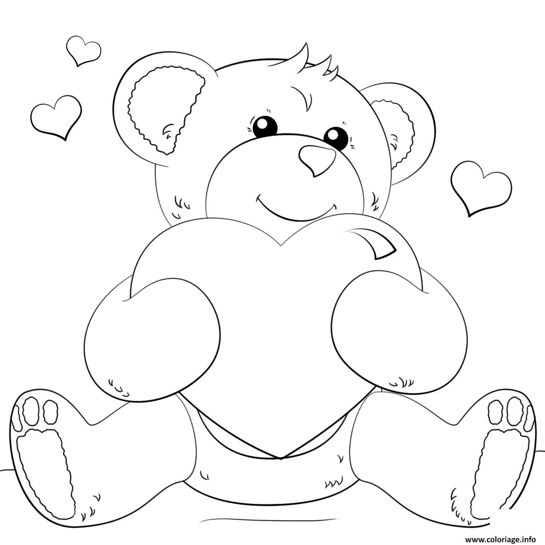 Coloriage ourson teddy avec un gros coeur - Dessin ourson a imprimer ...