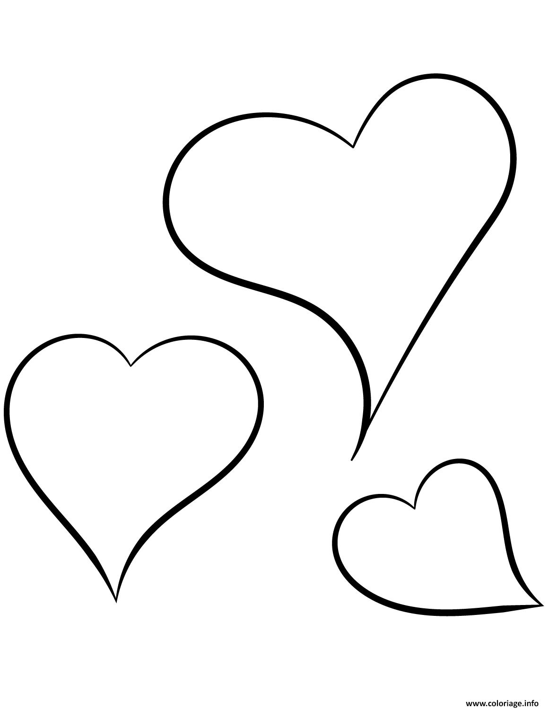 Coloriage trois coeurs saint valentin - Dessins coeurs ...
