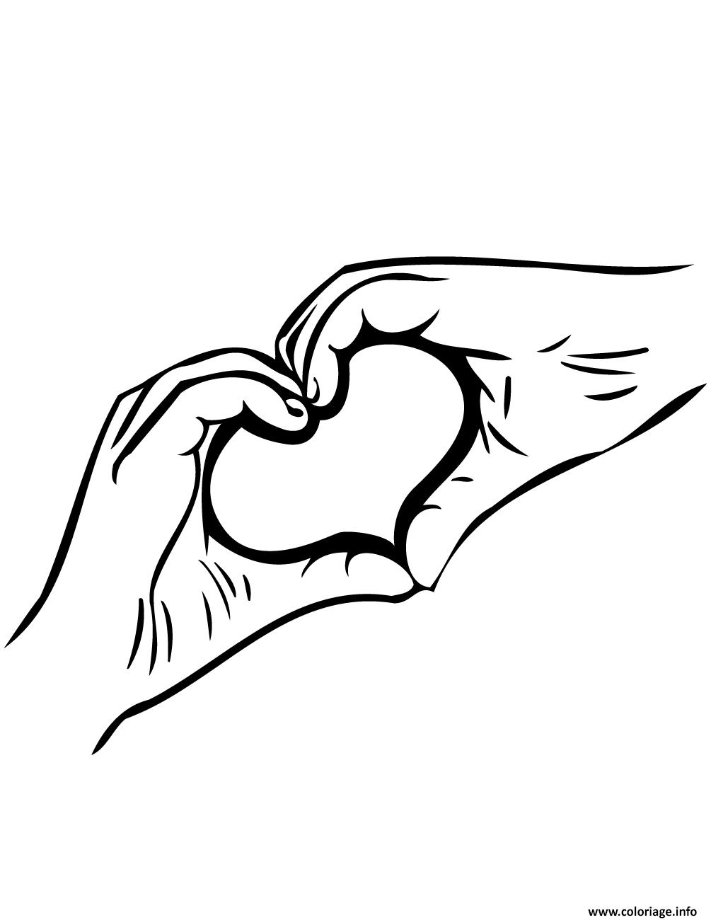 Coloriage Deux Mains Formant Un Coeur Dessin