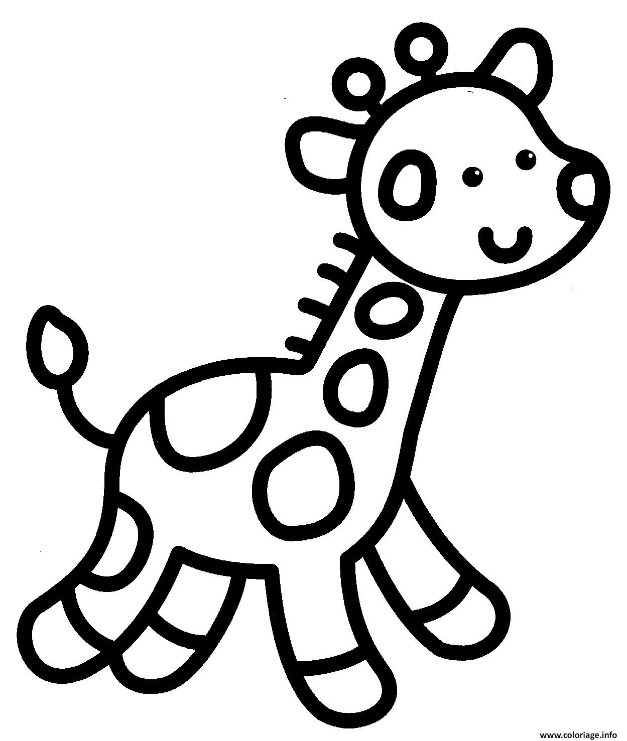 Coloriage Giraffe Facile Enfant Maternelle Dessin Facile à ...