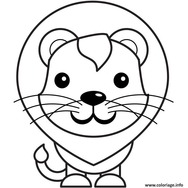 Coloriage Lion Facile Jecolorie Com