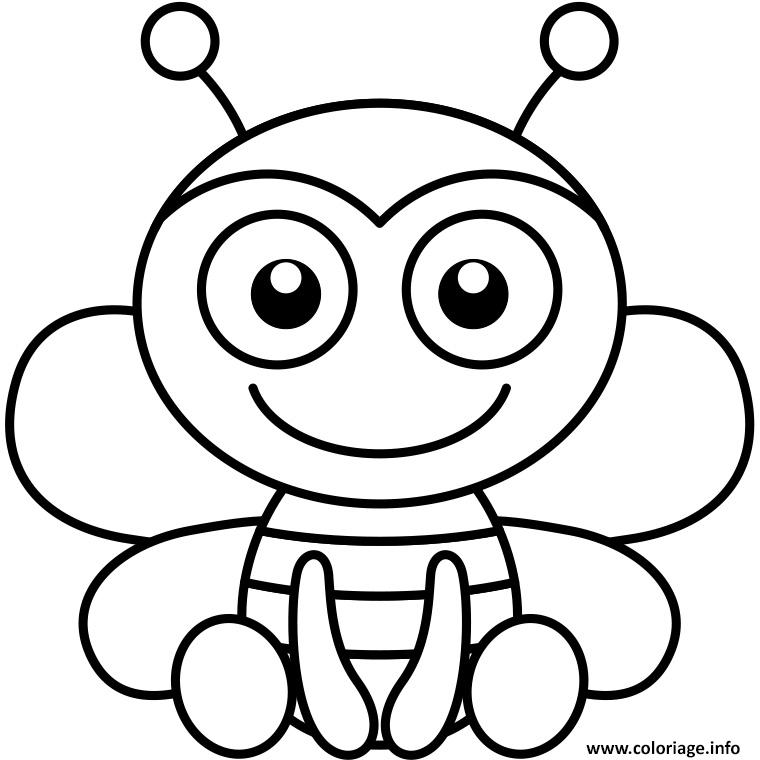 Coloriage facile abeille dessin - Dessins facile ...