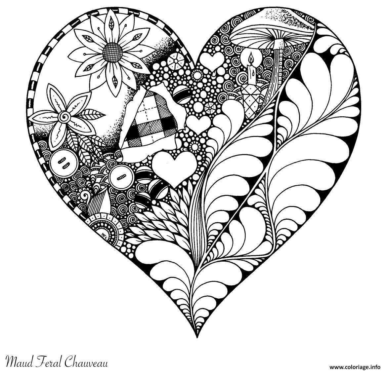 Dessin Artherapie Saint Valentin Coeur Coloriage Gratuit à Imprimer