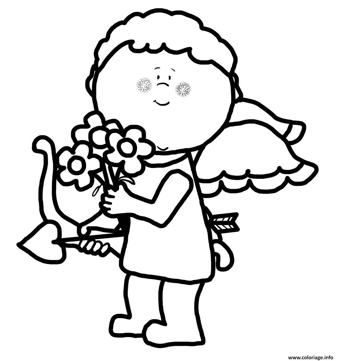 Dessin cupidon offre des fleurs pour la st valentin Coloriage Gratuit à Imprimer